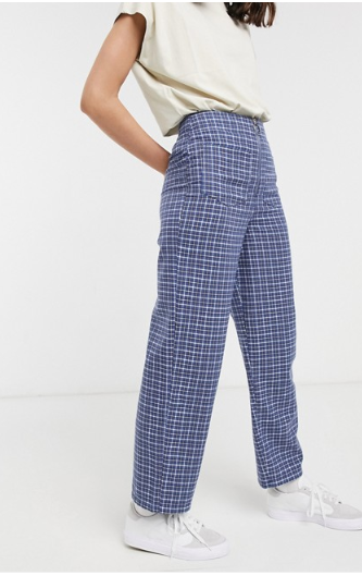 asos design high waist trousers in blue check