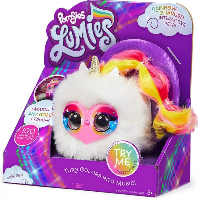 jucarie de plus interactiva pomsies lumies pixie pop